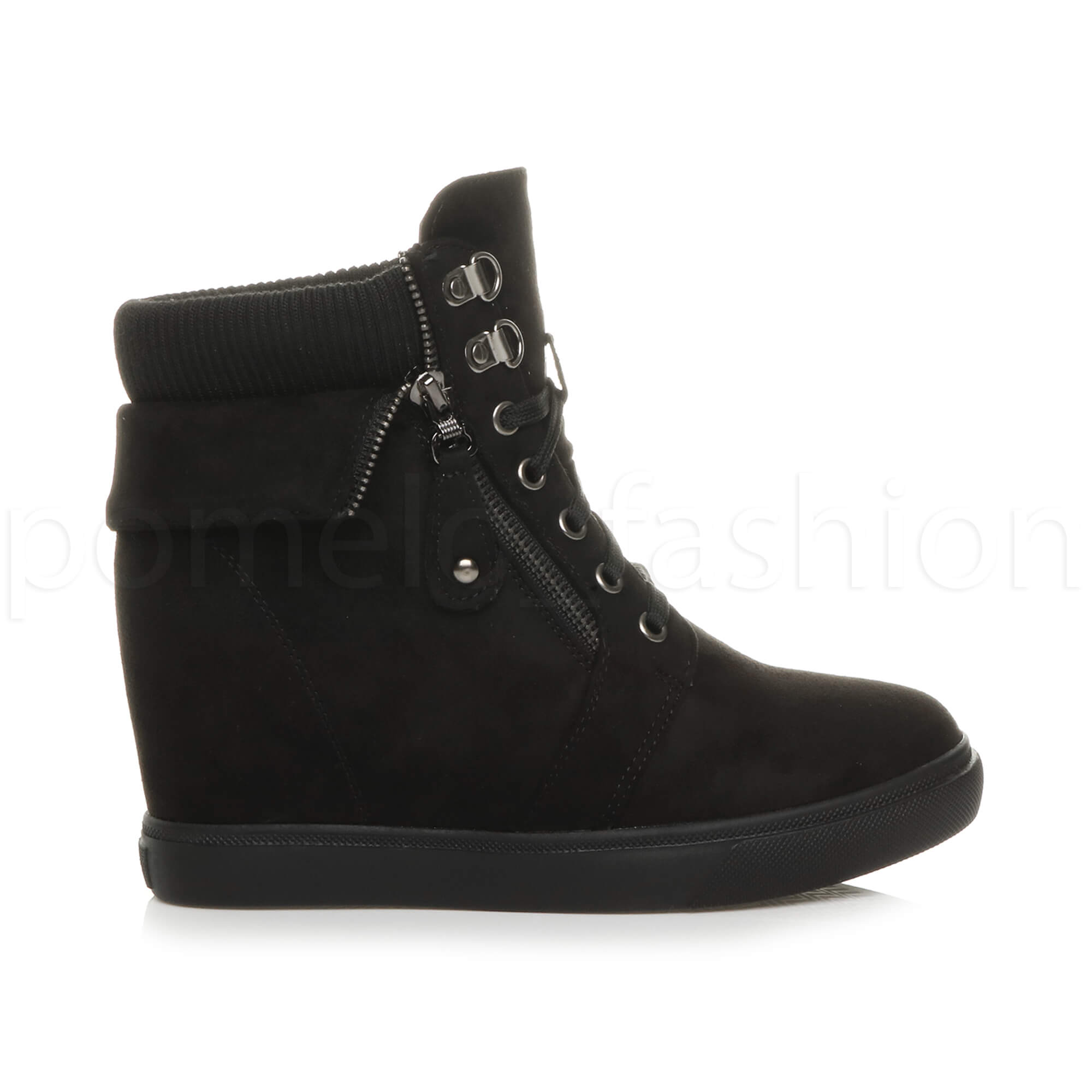 WOMENS-LADIES-MEDIUM-WEDGE-CUFF-COMBAT-BIKER-MILITARY-ANKLE-BOOTS-TRAINERS-SIZE