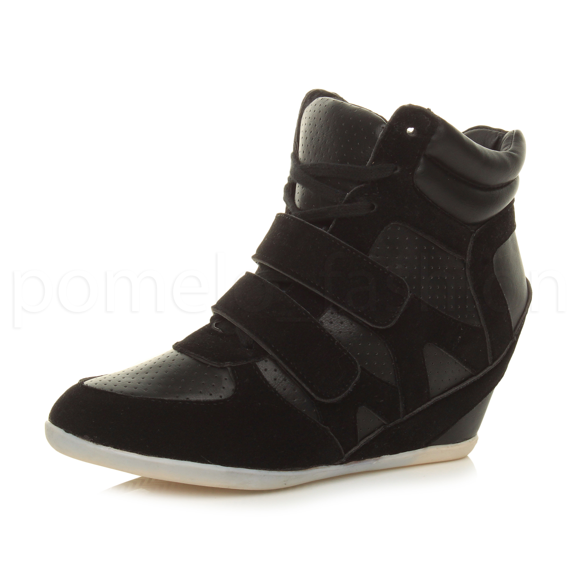 4b76d3ddd11 WOMENS LADIES HIGH WEDGE LACE UP HI HIGH TOP TRAINER ANKLE SHOE BOOTS SIZE