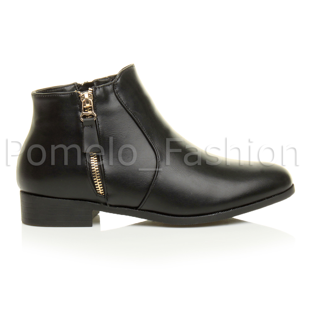 WOMENS LADIES FLAT HEEL GOLD ZIP PIXIE CHELSEA RIDING ANKLE BOOTS ...