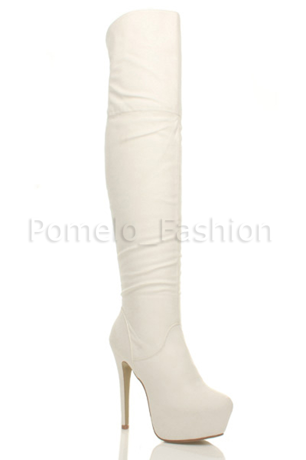 WOMENS LADIES HIGH HEEL PLATFORM OVER KNEE ZIP CLUB POLE DANCING BOOTS SIZE