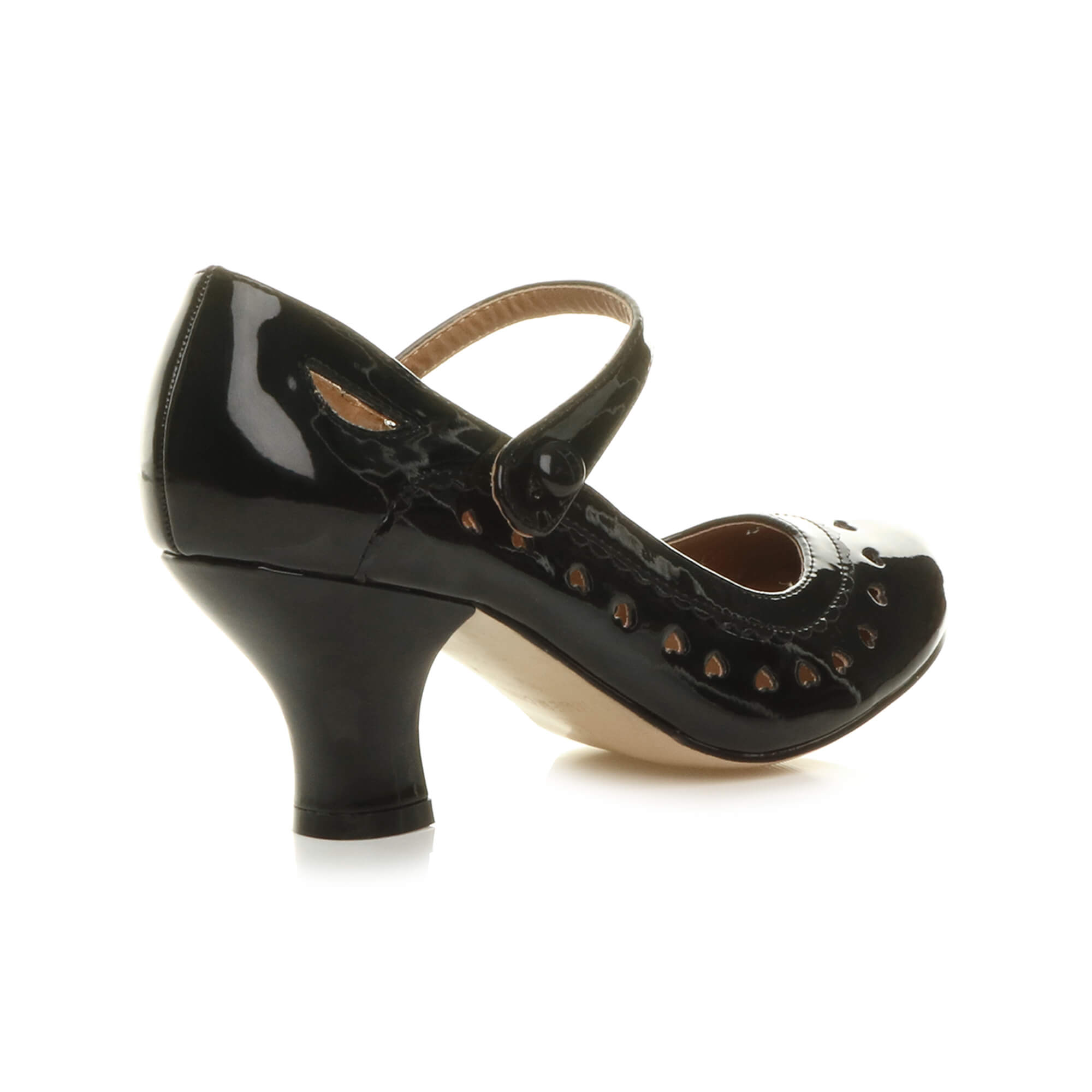 Ladies Black And Gold Studded Mid Heel Court Shoes