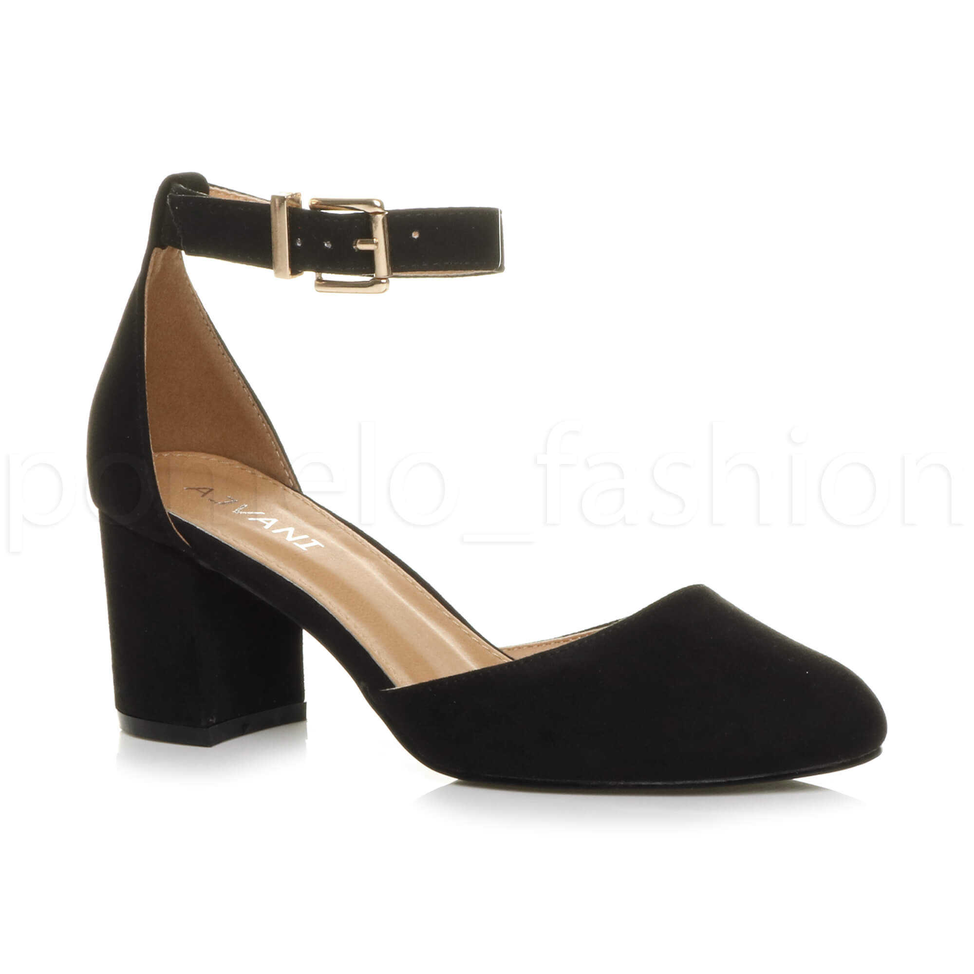Black Ankle Strap Low Heel Shoes