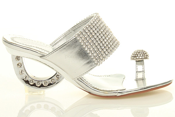dc606497840341 WOMENS LADIES MID HEEL BLING DIAMANTE WEDDING TOE RING PROM WEDGE SANDALS  SIZE Silver Bling Prom Shoes