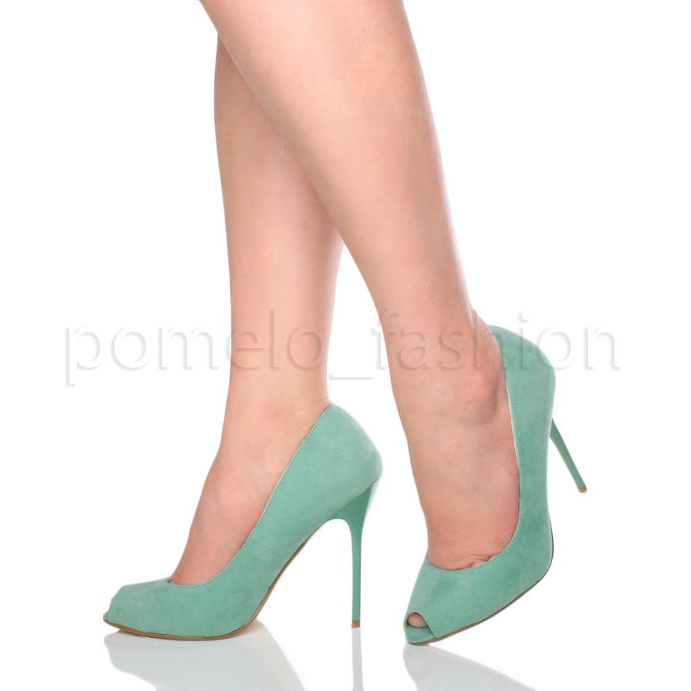 Mujer-Damas-Tacon-Alto-Peep-Toe-Sandalias-De-Fiesta-noche-graduacion-Tribunal-Zapatos-Bombas