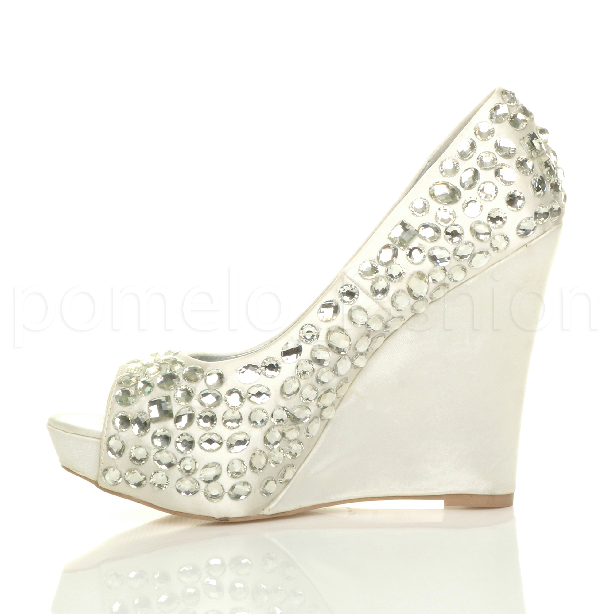 WOMENS WEDDING PLATFORM WEDGE LADIES BRIDAL SANDALS ...