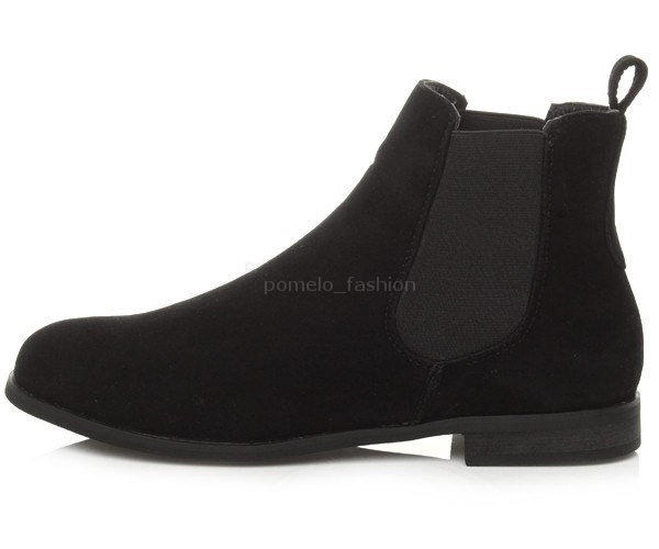 WOMENS-LADIES-GIRLS-LOW-HEEL-FLAT-PULL-ON-CHELSEA-STRETCH-ANKLE-SHOE-BOOTS-SIZE