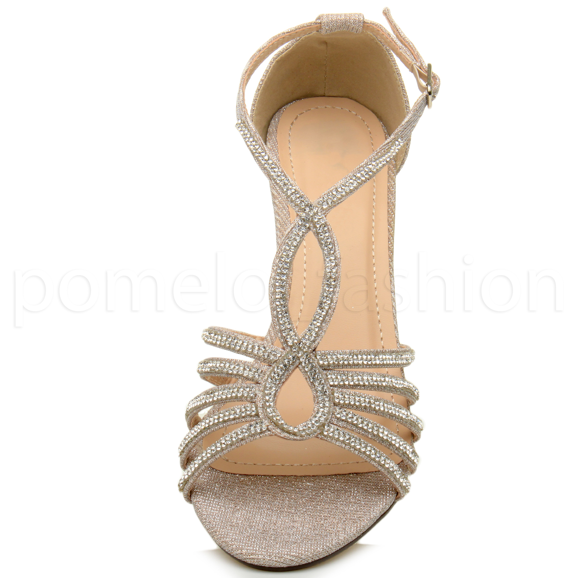 19b7b5f7946 WOMENS LADIES MID HEEL GEMS GLITTER STRAPPY BRIDAL CUT OUT SANDALS ...