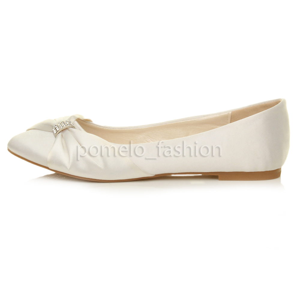 white wedding shoes flats womens flat evening bridesmaid bridal wedding dolly 1369