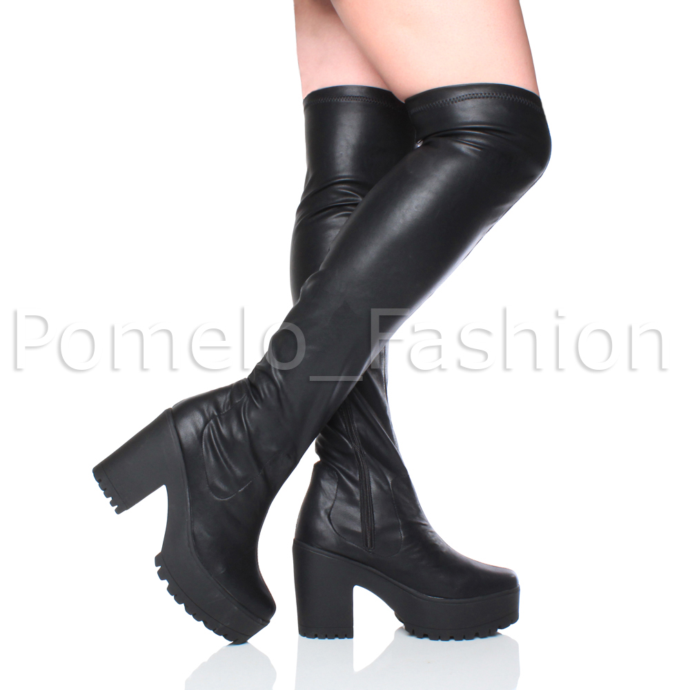 WOMENS-LADIES-CHUNKY-HIGH-HEEL-PLATFORM-STRETCH-OVER-THE-KNEE-THIGH-BOOTS-SIZE