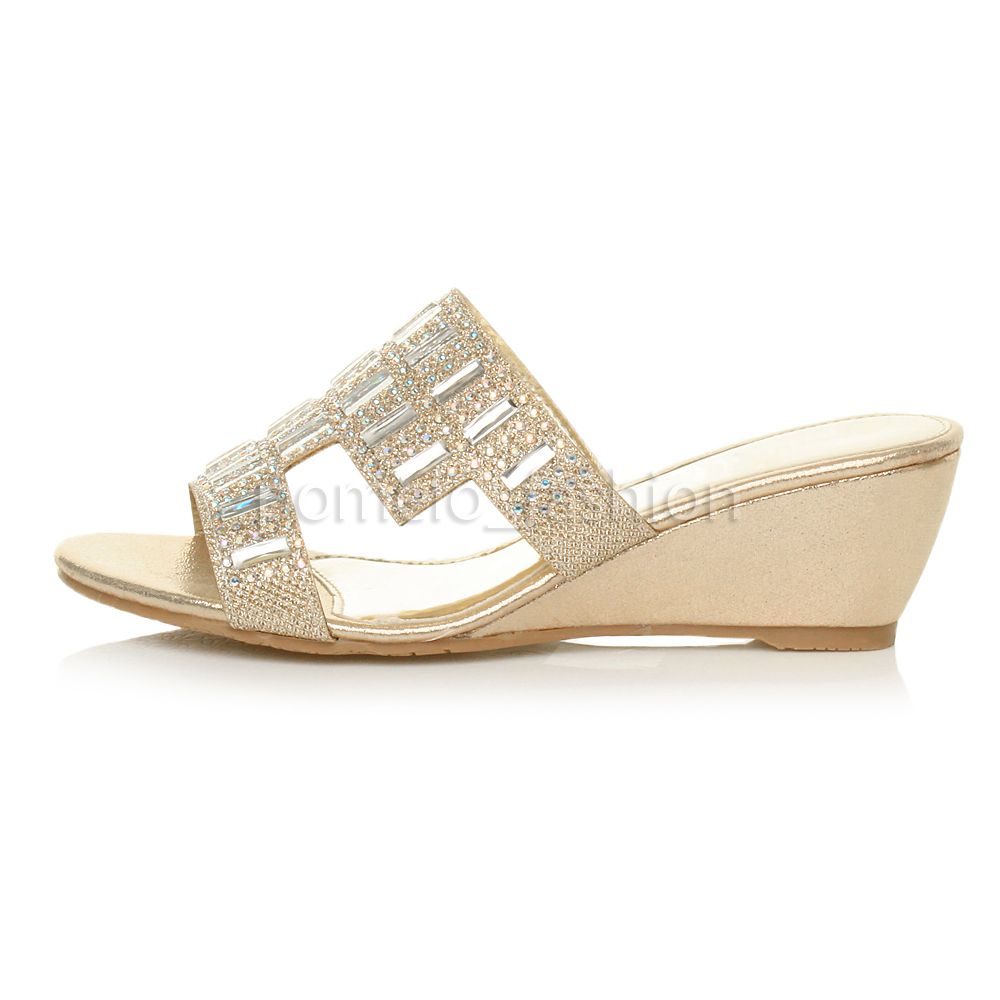 WOMENS MID HEEL WEDGE BRIDAL PROM WEDDING DIAMANTE MULES ...
