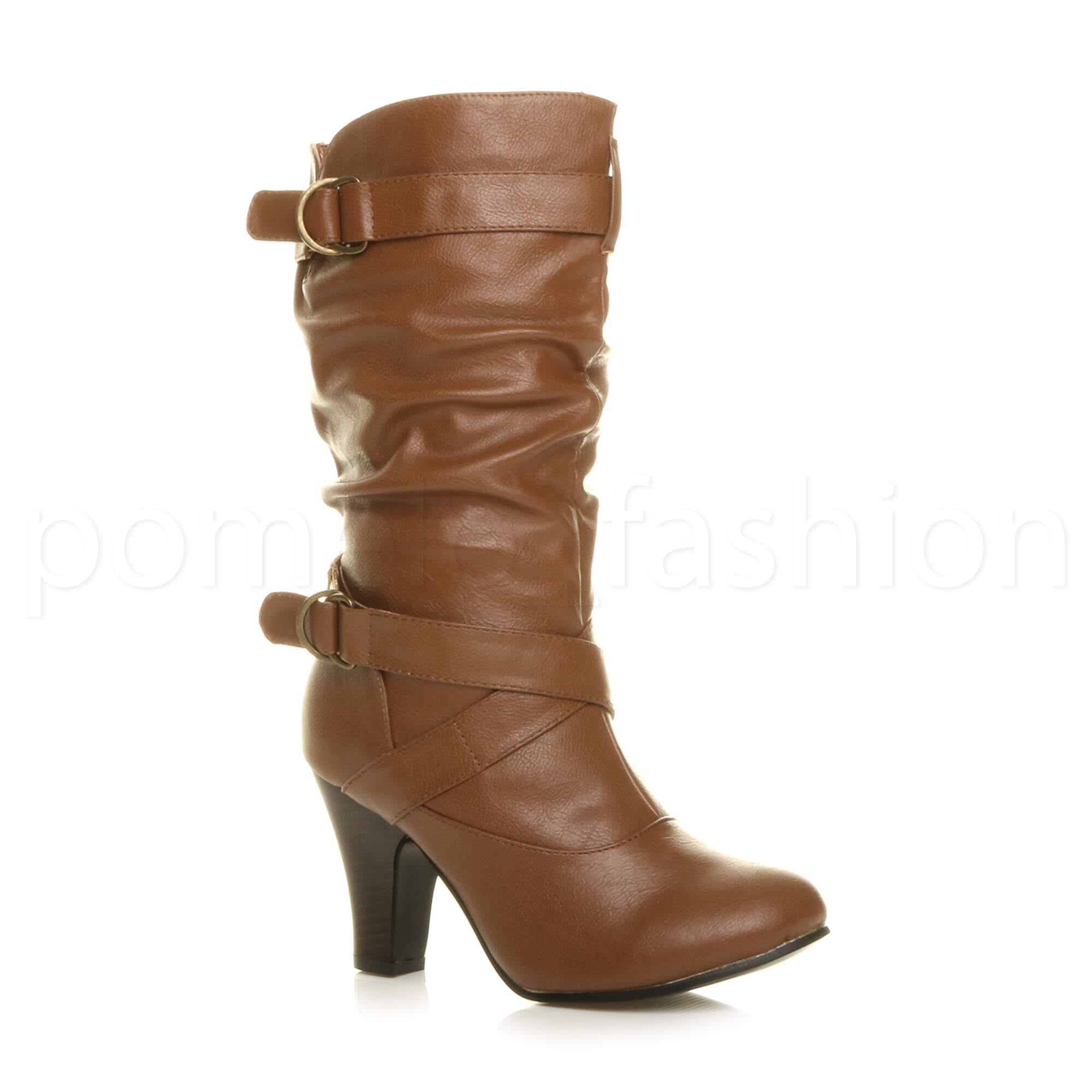 WOMENS-LADIES-HIGH-BLOCK-HEEL-BUCKLE-STRAPS-SMART-CALF-RUCHED-SLOUCH-BOOTS-SIZE
