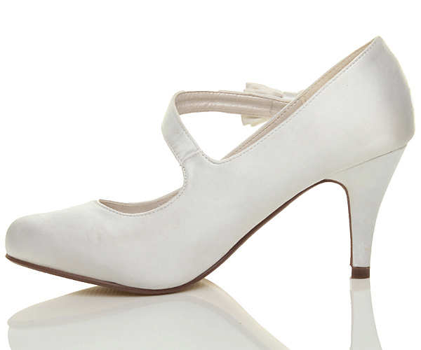 WOMENS-LADIES-MID-HIGH-HEEL-STRAP-BOW-WEDDING-BRIDAL-EVENING-SHOES-SIZE