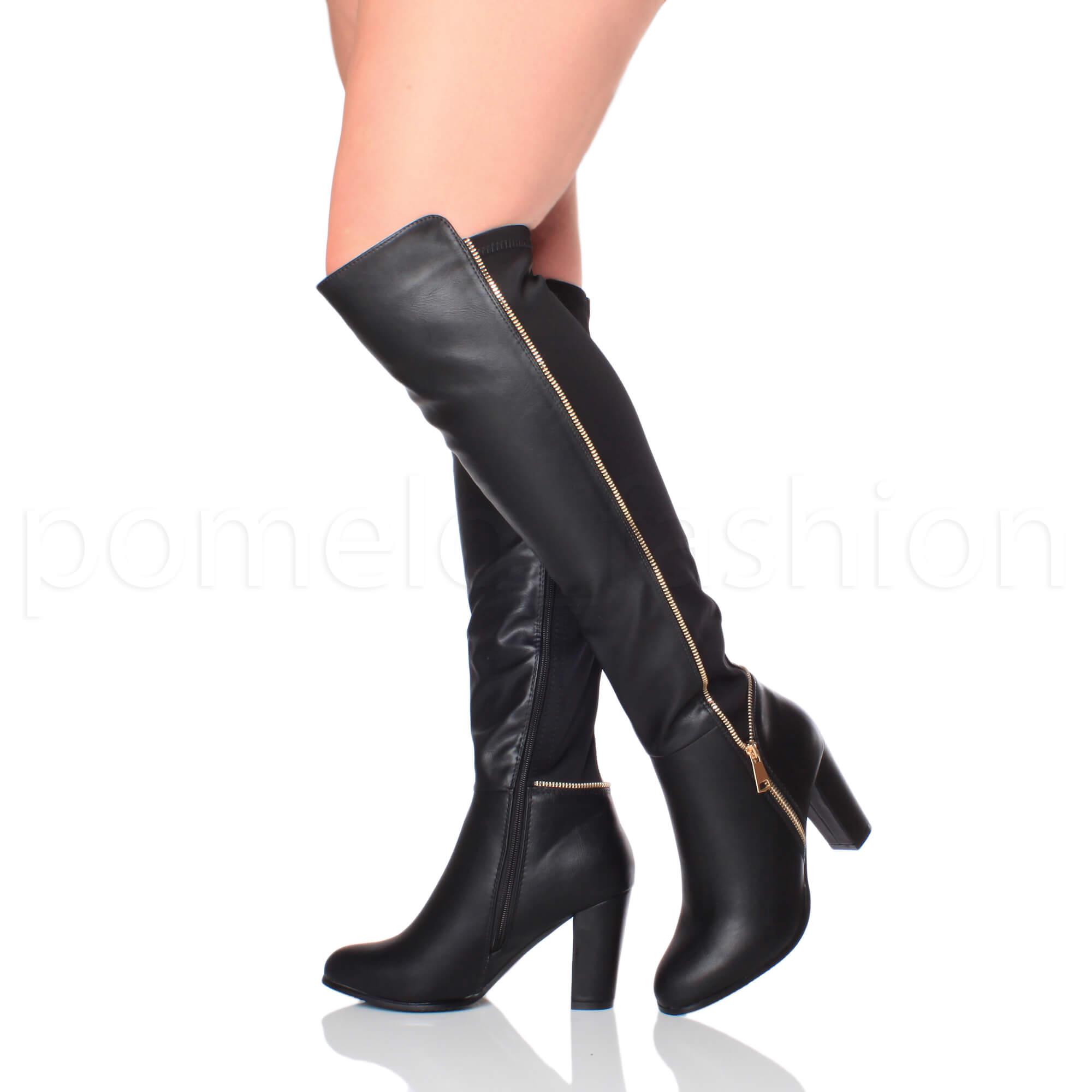 WOMENS LADIES BLOCK HIGH HEEL STRETCH GOLD ZIP BIKER SMART KNEE HIGH BOOTS  SIZE a4ca5d467901