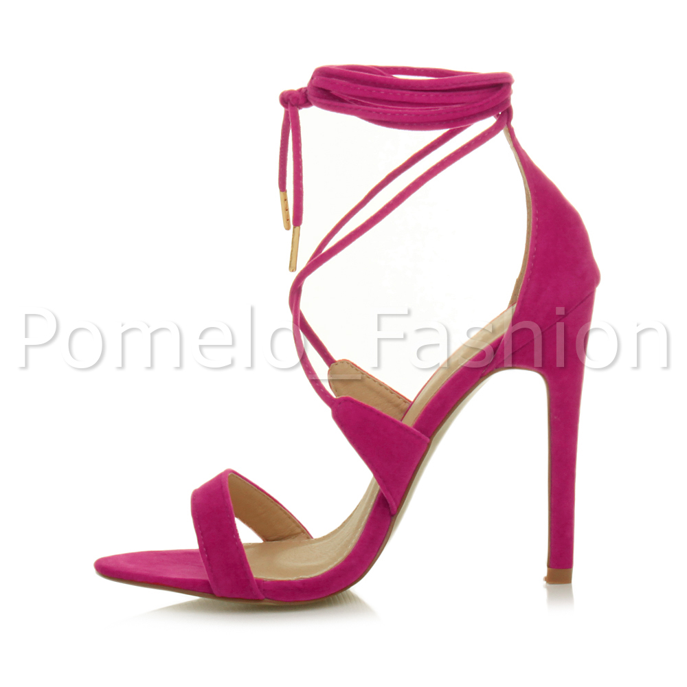 bb41f727e81 Womens Ladies High Heel Barely There Strappy Lace Tie up Sandals ...