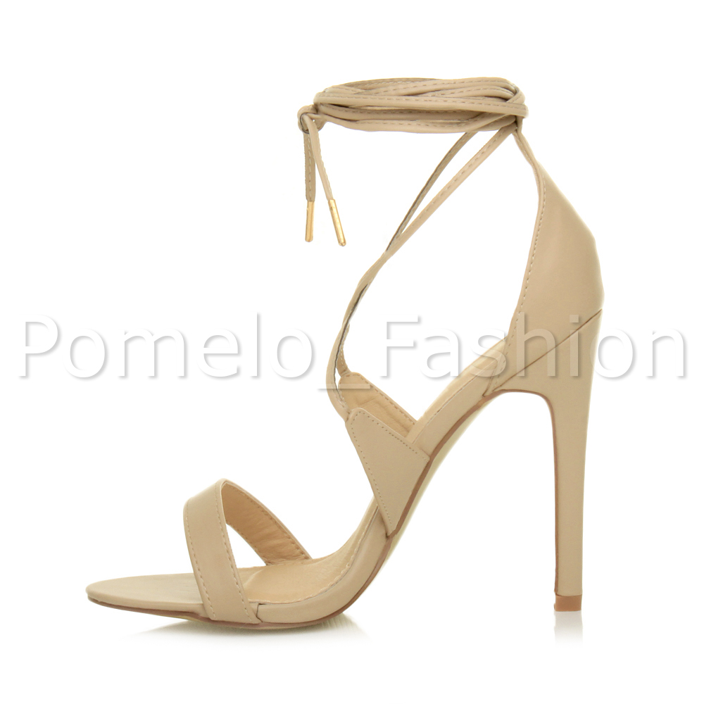 3756491e4b13 LADIES STILETTO HIGH HEEL TIE UP BARELY THERE LACE UP STRAPPY ...