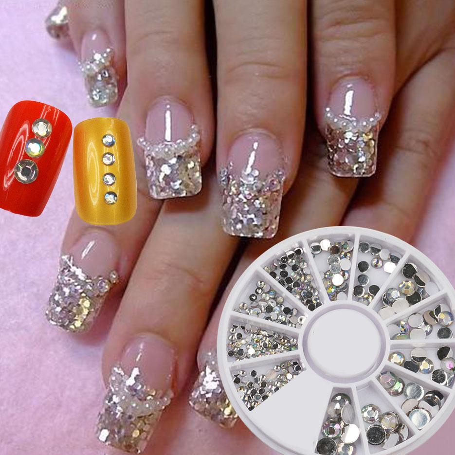 UK 300pc Rhinestone 3D Nail Art Fashion Silver Diamante Glitter Gem ...