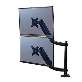 NEW! Fellowes 8043401 Platinum Series Dual Vertical Monitor Arm