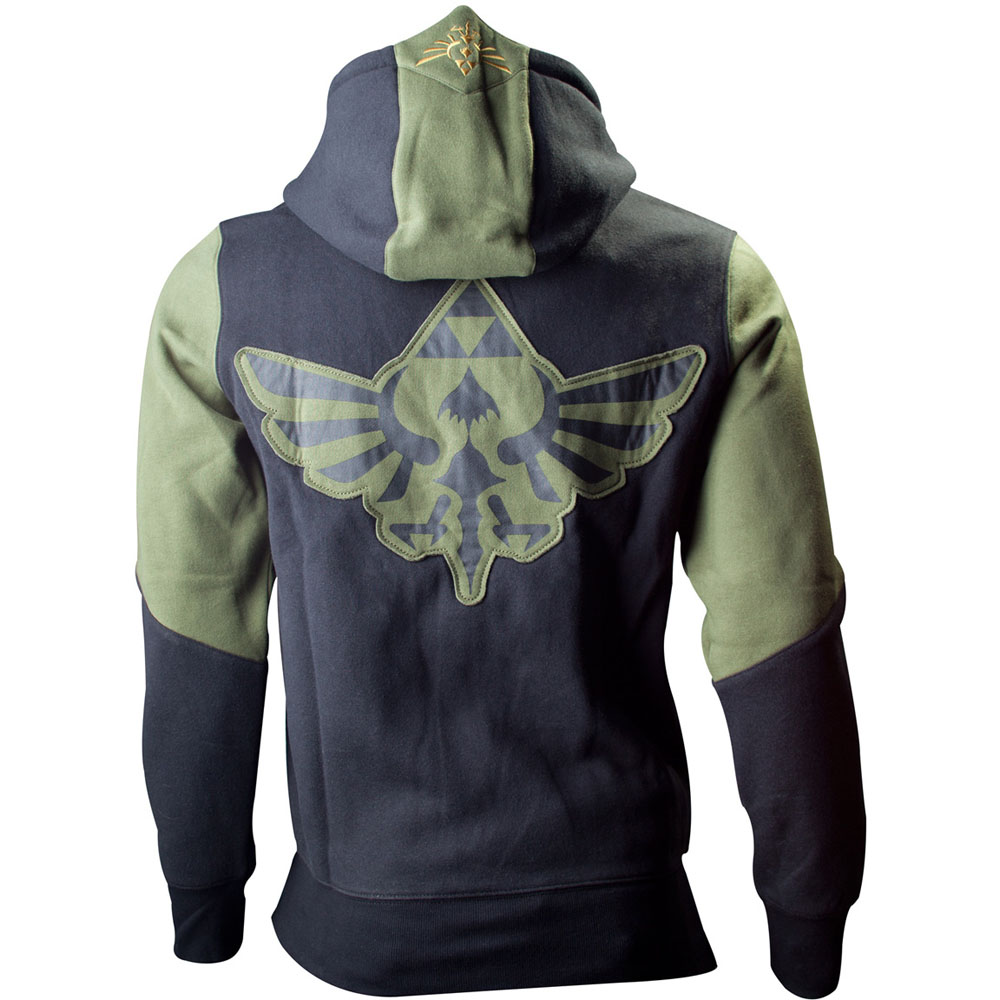 NEW! Nintendo Legend Of Zelda Mens Hoodie Zelda Back Design Green Black Medium