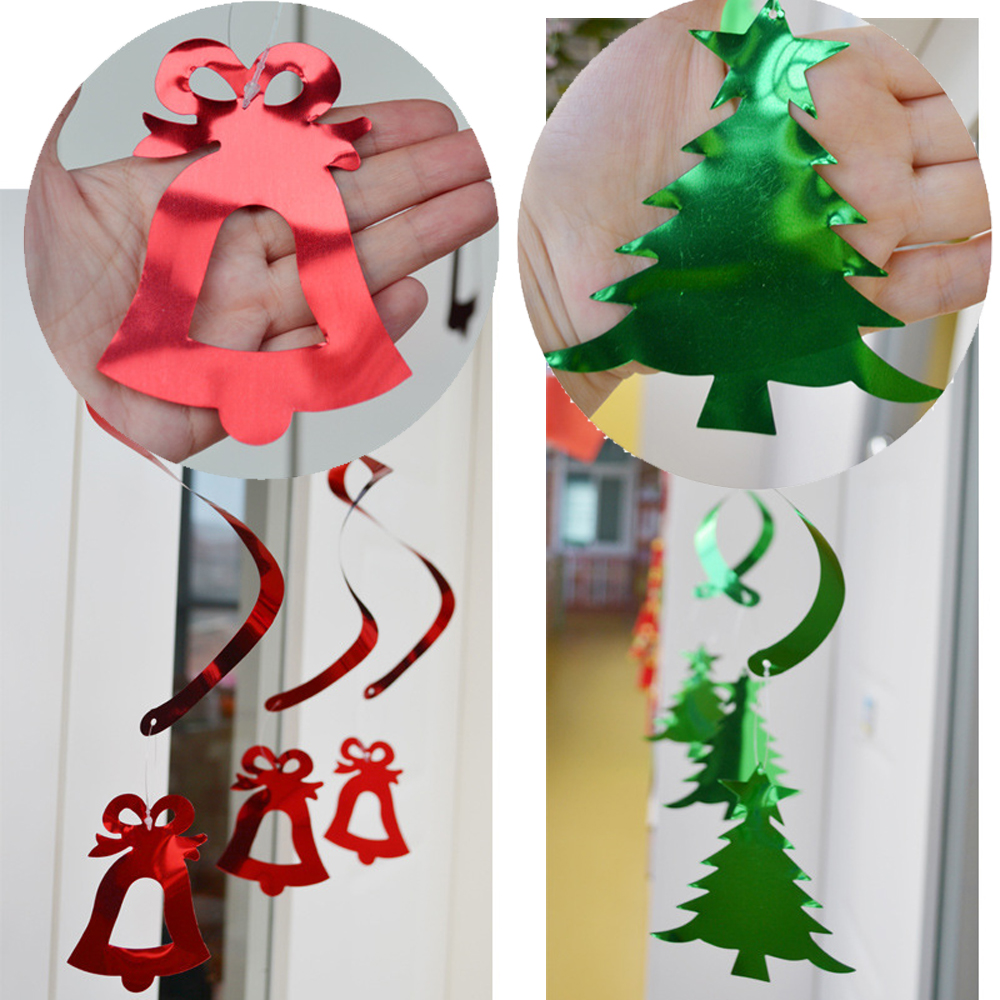 12pcs Christmas Festival Party Hanging Swirls Home Window Decorations