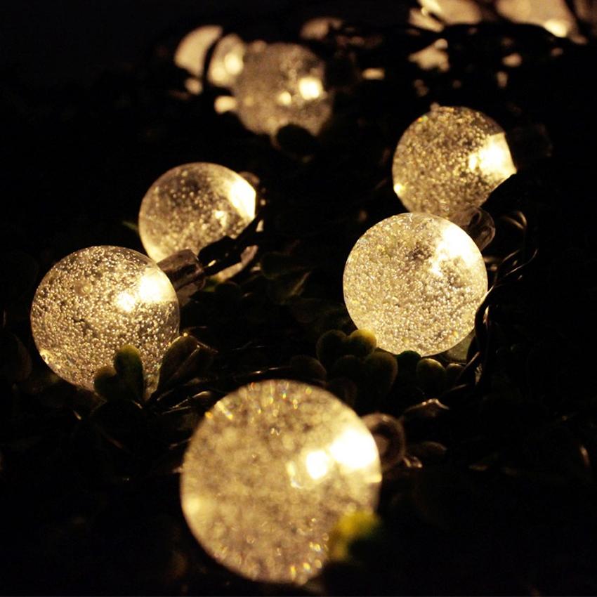 Clear Globe Solar String Lights : 6.5M Solar Globe Fairy Lights 30 Led Crystal Ball Patio String Light Warm White eBay
