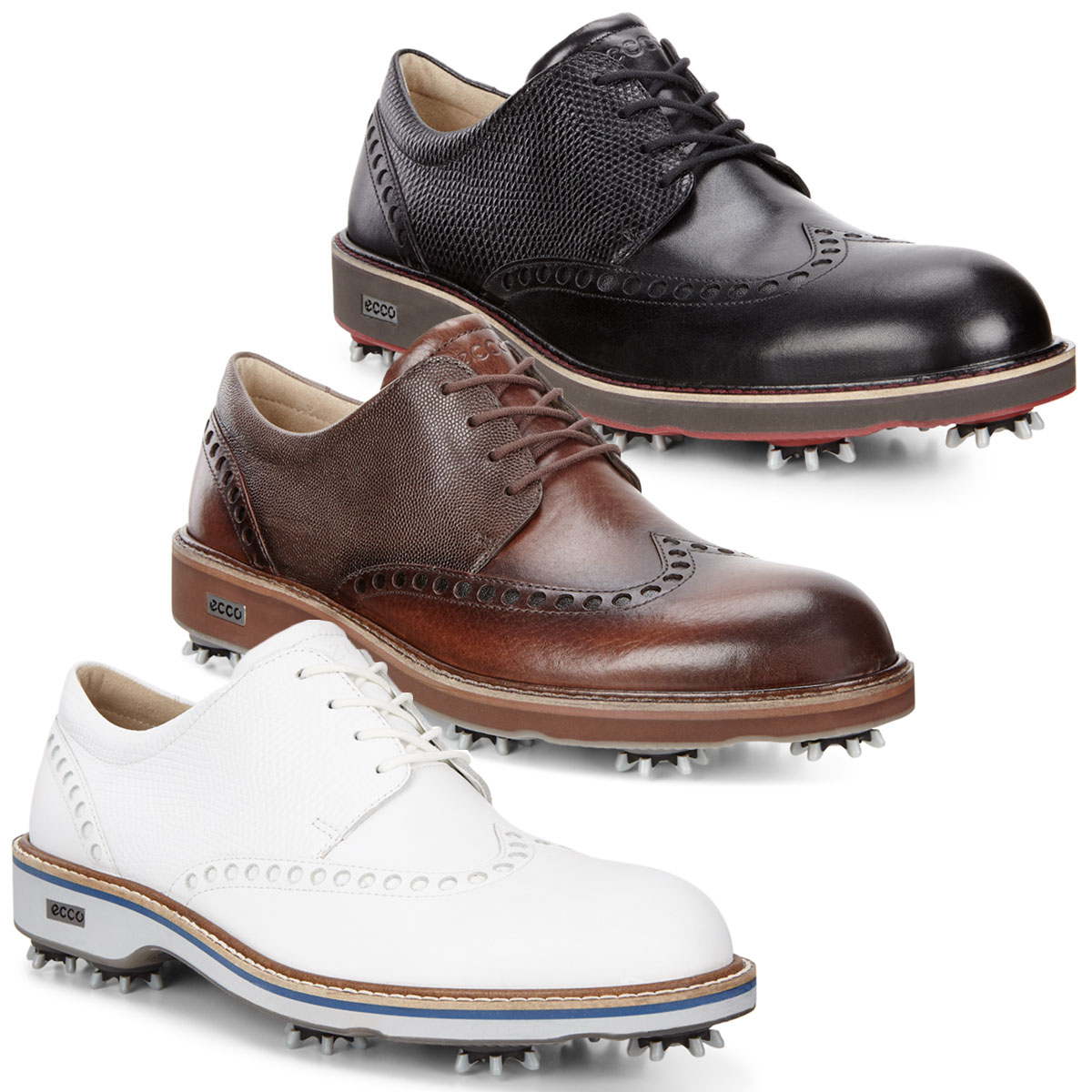 8d54566f410052 Ecco Mens Classic Lux Leather Spiked Brogue Golf Shoes