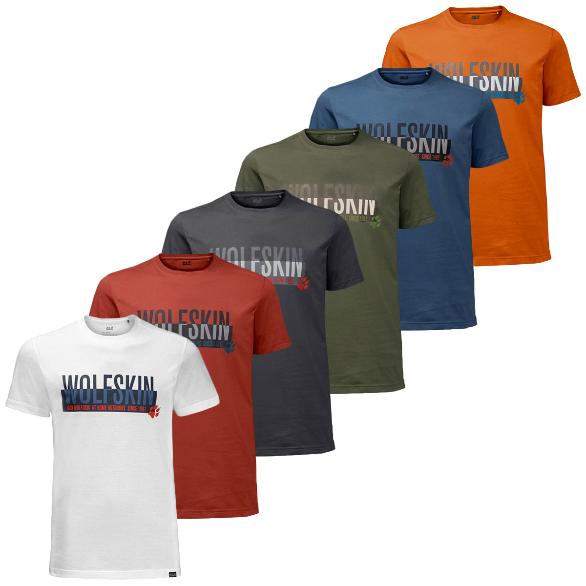 Large Jack Wolfskin Mens Slogan T T-Shirt Short Sleeve Ocean Wave