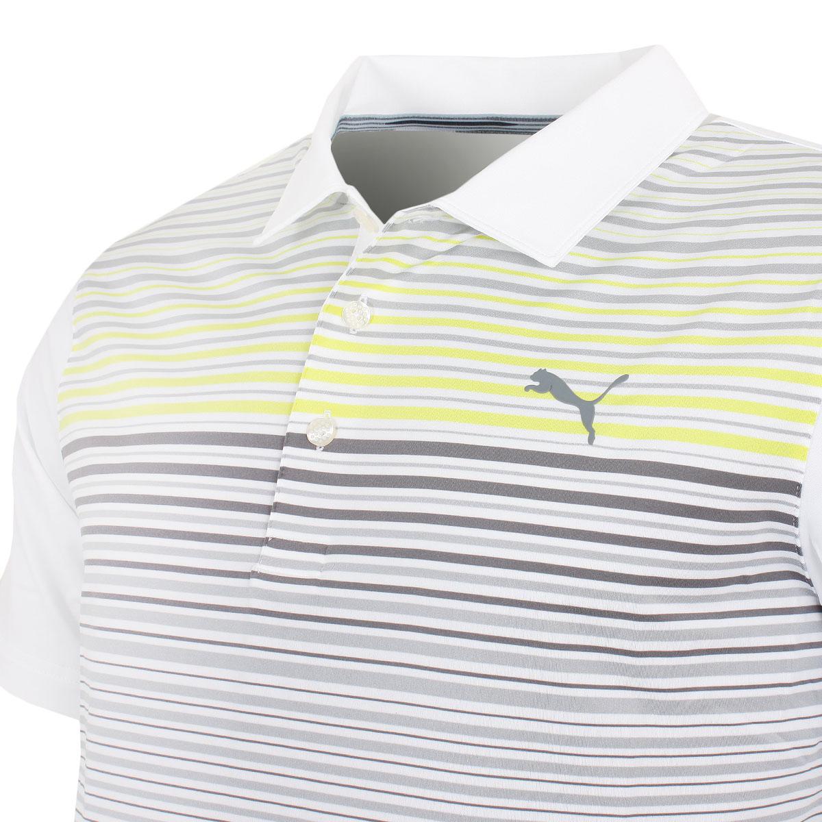 Puma-Golf-Mens-Highlight-Stripe-DryCELL-UPF-40-Stretch-Polo-Shirt thumbnail 4