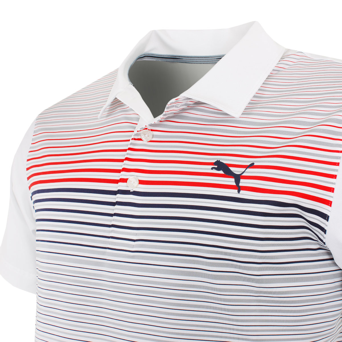Puma-Golf-Mens-Highlight-Stripe-DryCELL-UPF-40-Stretch-Polo-Shirt thumbnail 7