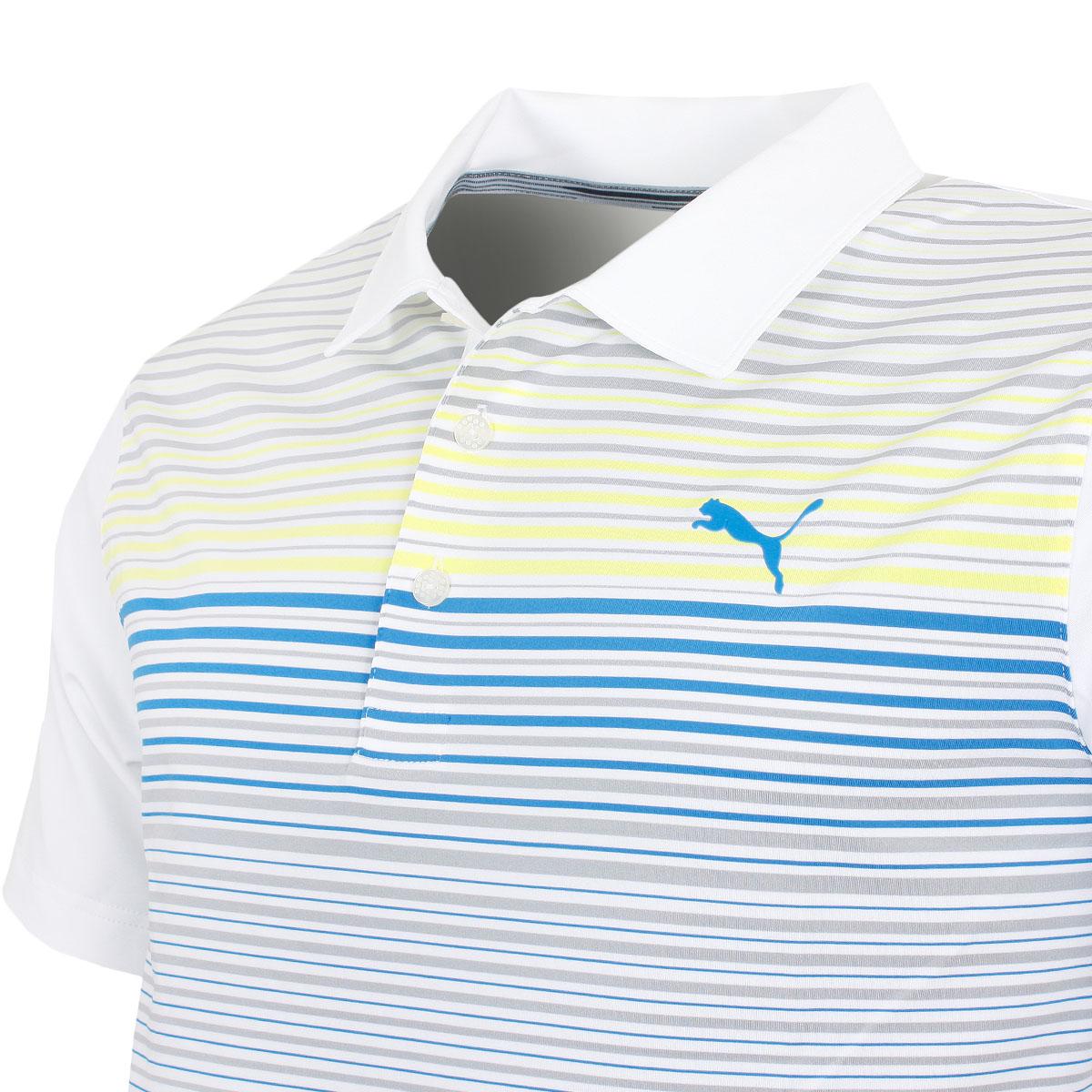 Puma-Golf-Mens-Highlight-Stripe-DryCELL-UPF-40-Stretch-Polo-Shirt thumbnail 10