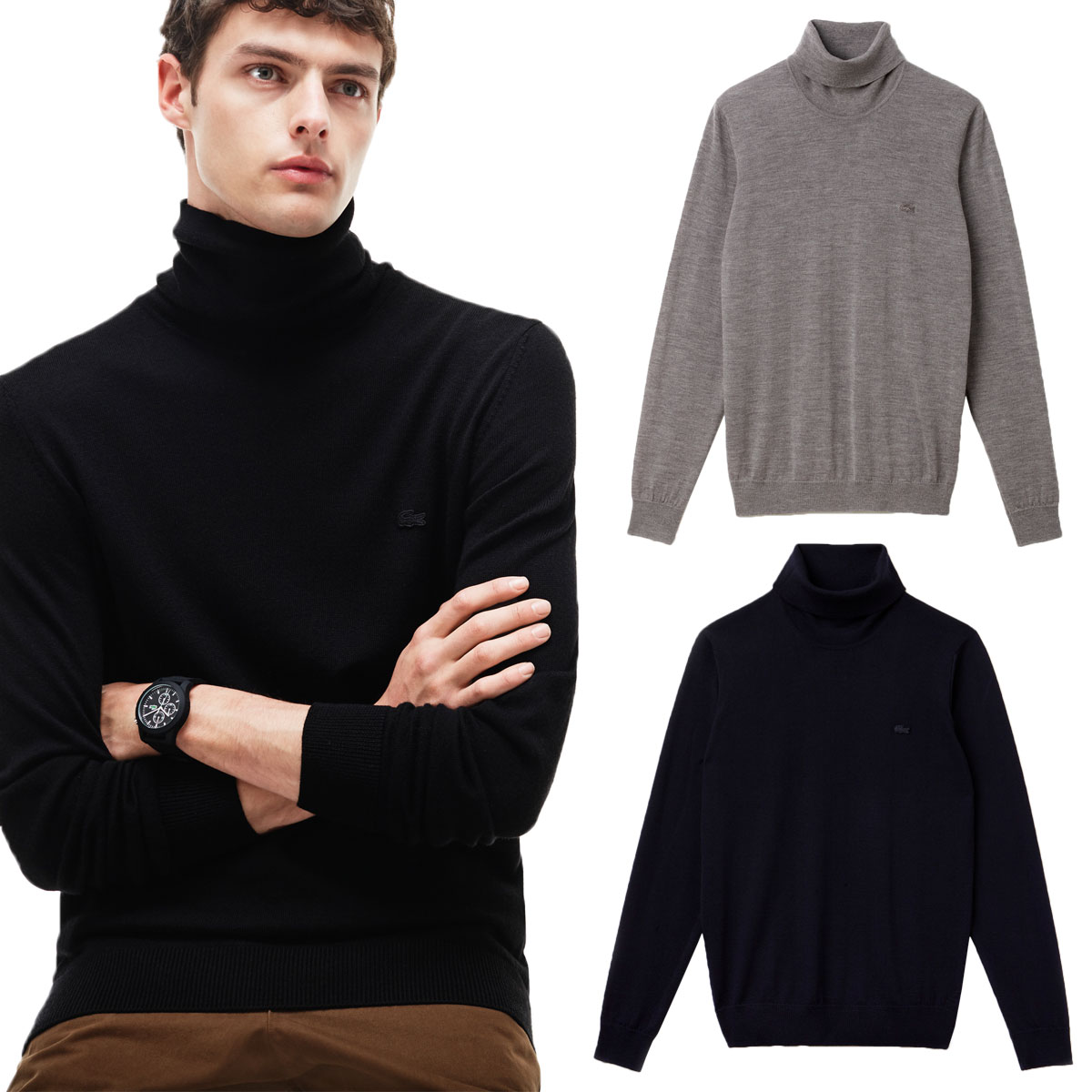 b3c867d1a Details about Lacoste Mens AH2991 Turtleneck Roll Neck 100% Wool Jersey  Sweater