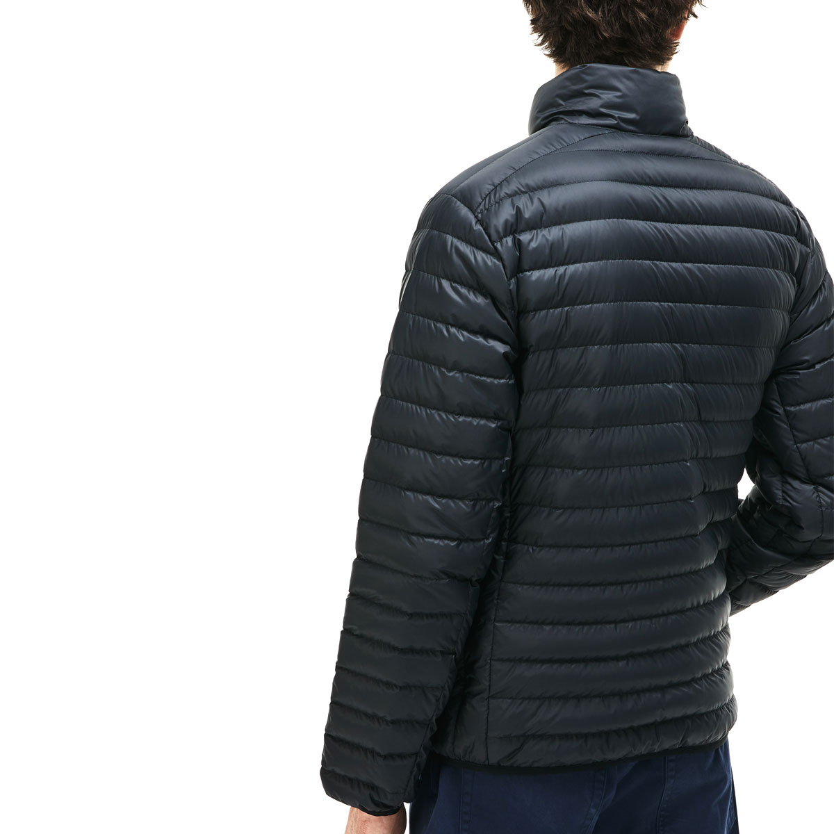 Lacoste Mens BH9389 Short Water Resistant Contrast Lined Quilted Jacket