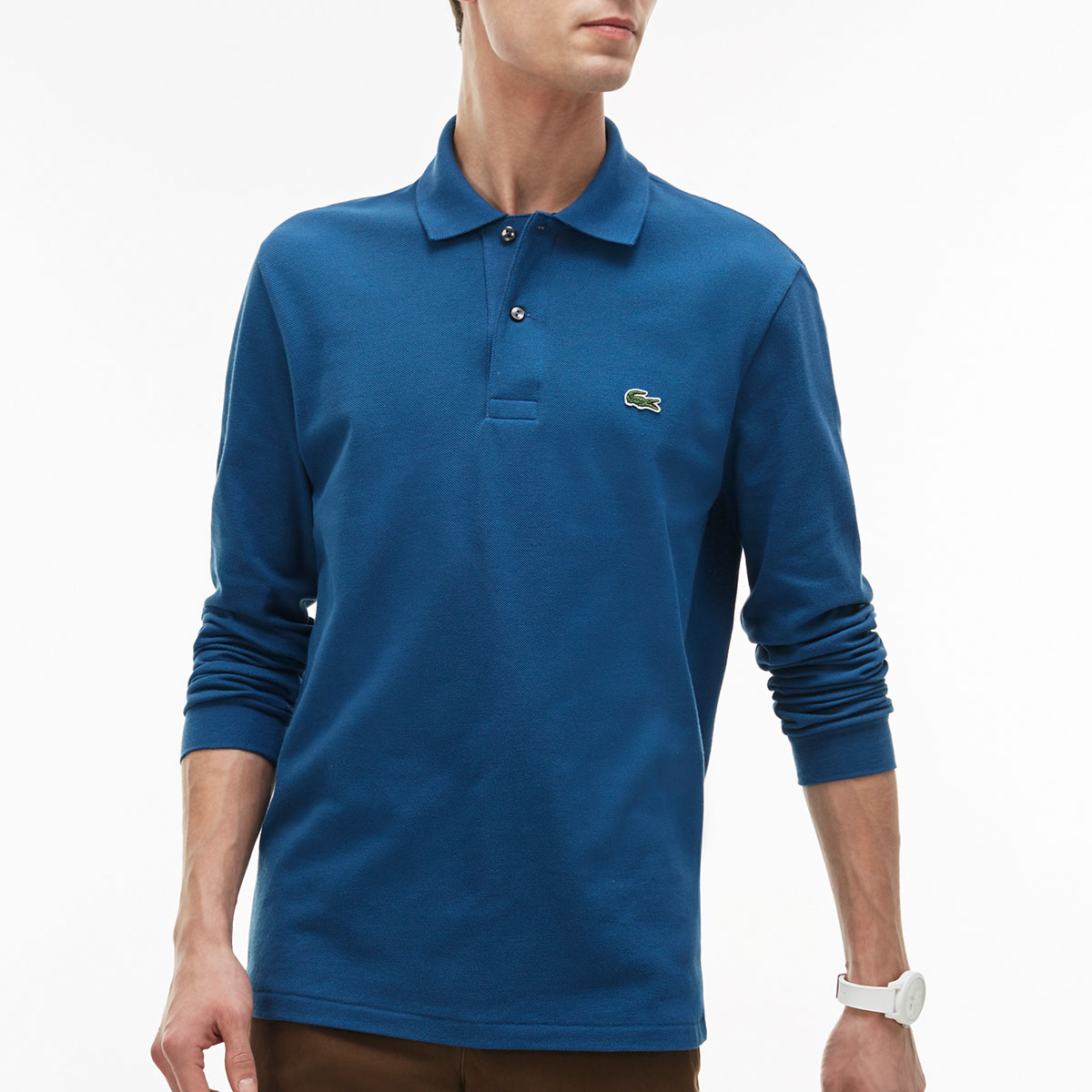 Lacoste mens classic cotton long sleeve l1312 polo shirt for Lacoste polo shirts ebay