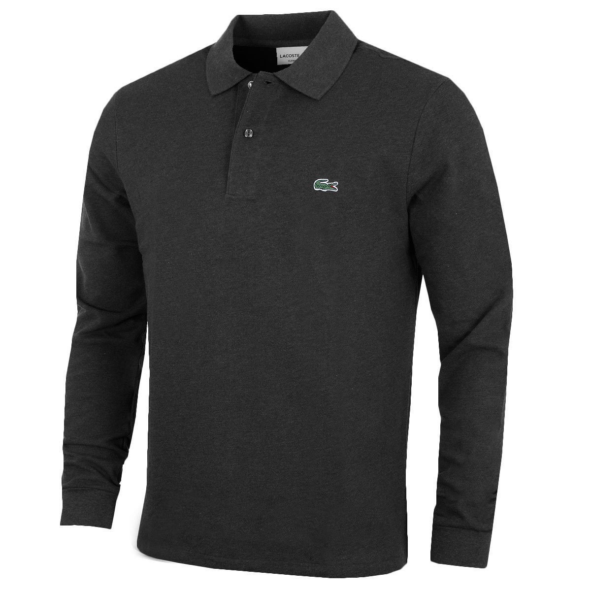 Lacoste mens l1313 marl long sleeve polo shirt 29 for Men s lightweight long sleeve polo shirts