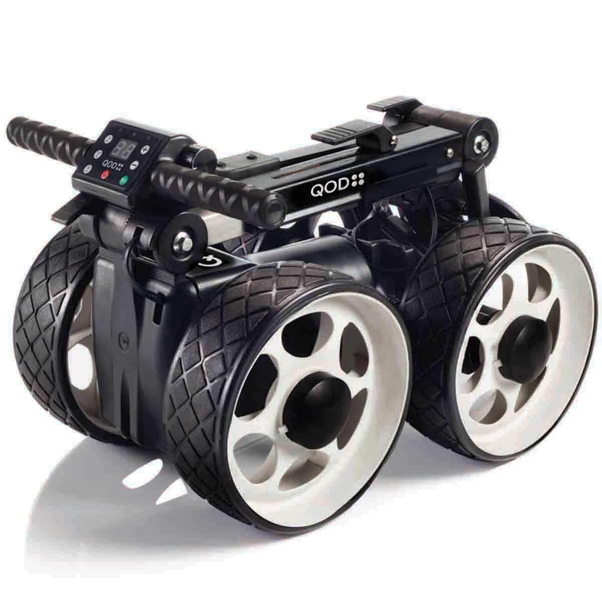 qod lithium 4 wheel compact electric golf trolley 18 hole lithium battery ebay. Black Bedroom Furniture Sets. Home Design Ideas