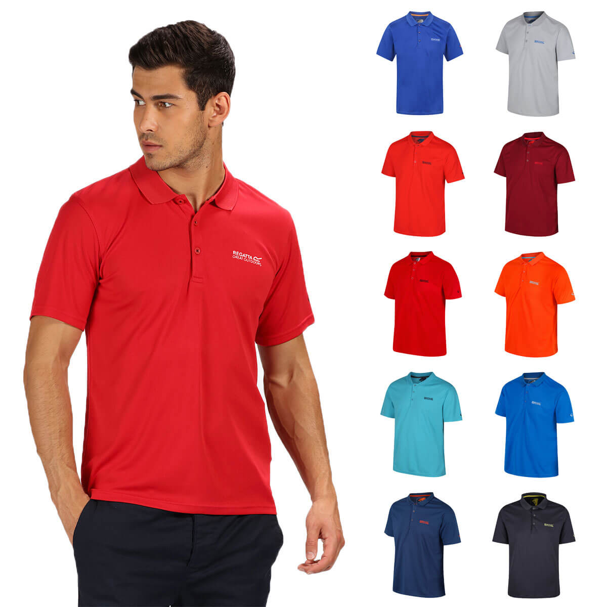 3fe870221 Details about Regatta Mens 2019 Maverick IV Ribbed Collar Wicking Polo Shirt  56% OFF RRP