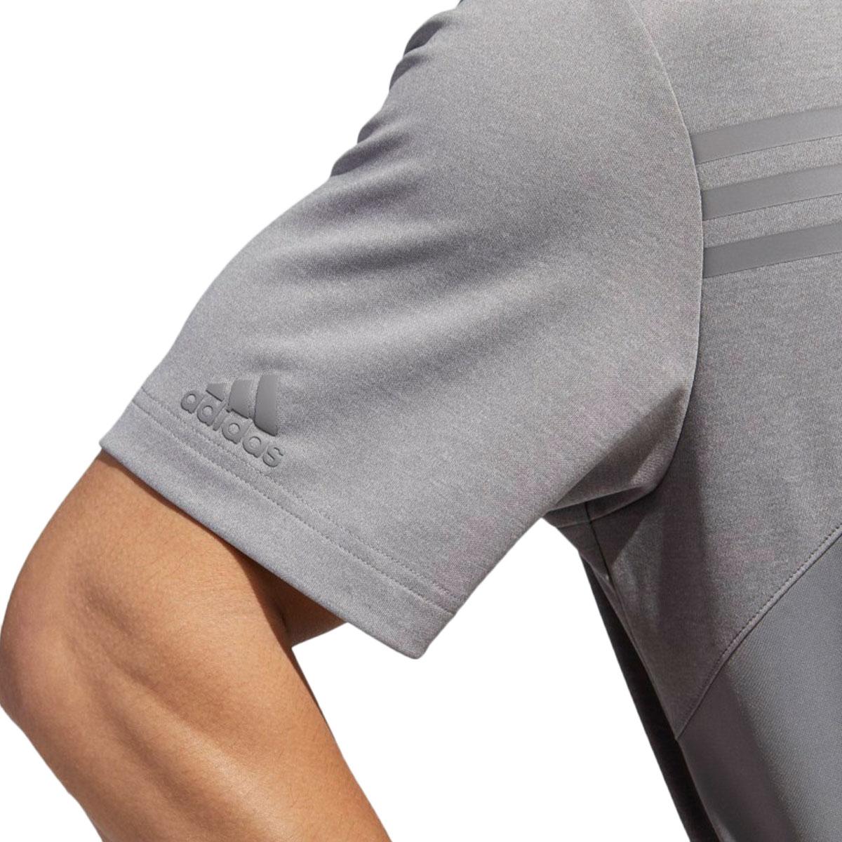Adidas-Golf-Homme-3-Stripe-Heather-bloque-UPF-50-Polo-Shirt-43-off-RRP miniature 10