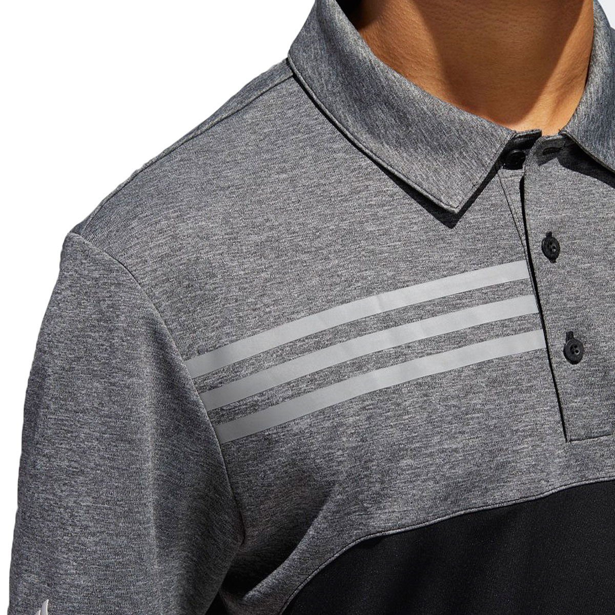 Adidas-Golf-Homme-3-Stripe-Heather-bloque-UPF-50-Polo-Shirt-43-off-RRP miniature 4