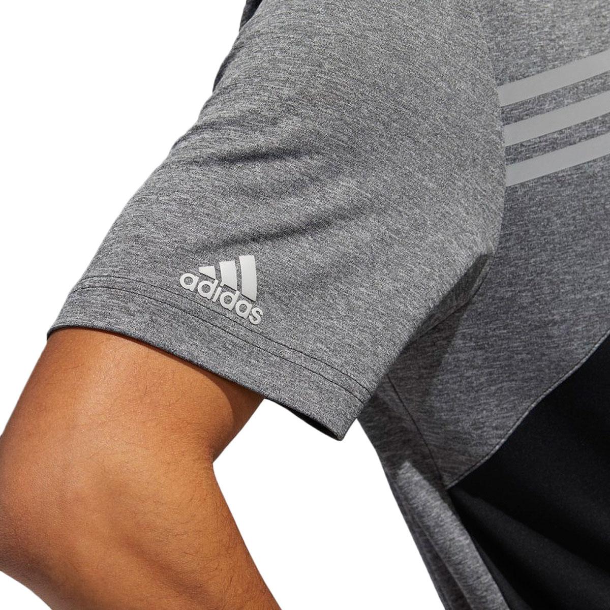 Adidas-Golf-Homme-3-Stripe-Heather-bloque-UPF-50-Polo-Shirt-43-off-RRP miniature 5