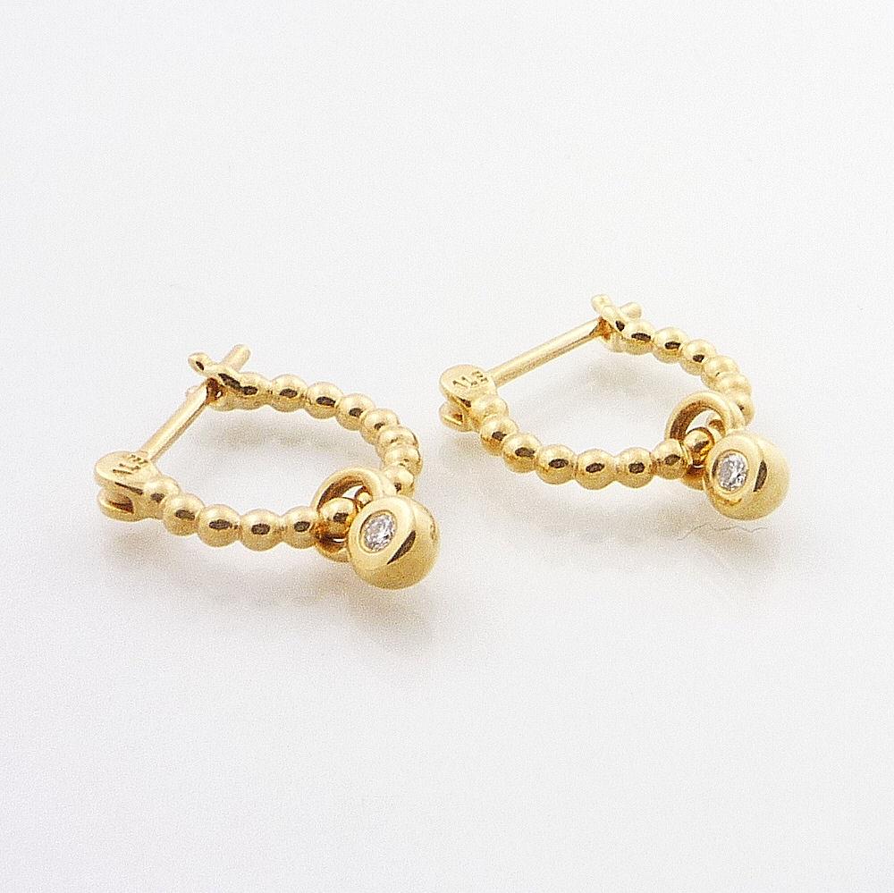 Pandora Hoop Earrings: Authentic Pandora 14K Gold Beaded Hoop Earrings With