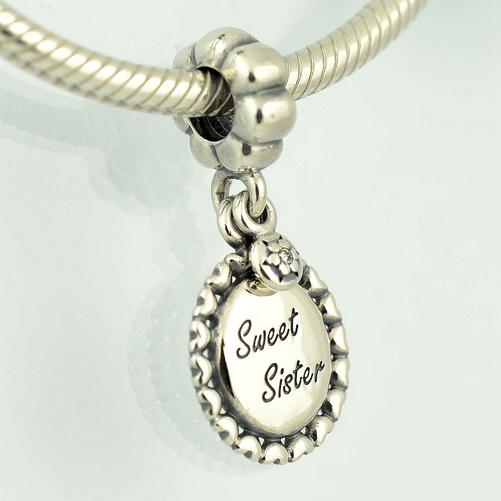 Pandora Jewelry Sister Charm: Genuine PANDORA Silver Sweet Sister Dangle Charm CZ