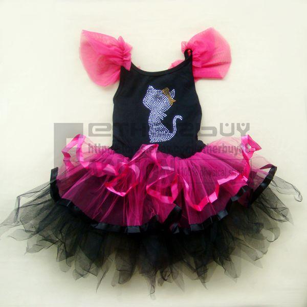 Halloween Kitty Cat Girls Kids Party Costume Ballet Leotard Tutu Dress Sz 6 7Y
