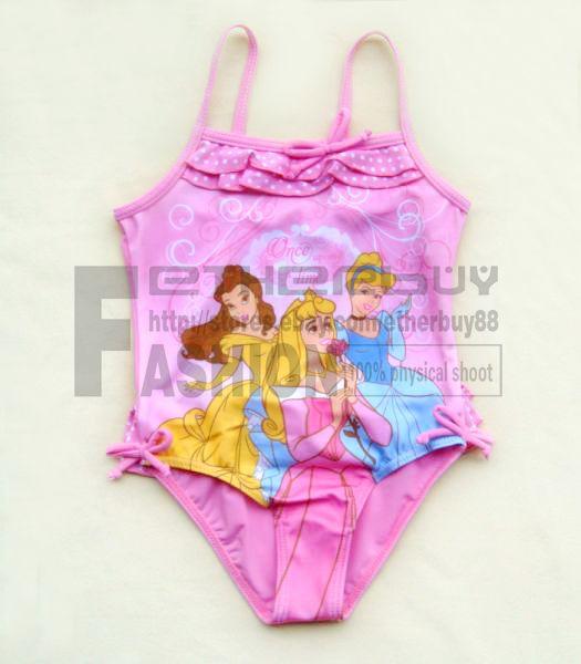 Girl Kid Pink Tankini 3 Fairies Swimsuit Swimwear Bathing Size 1 8 Years Costume