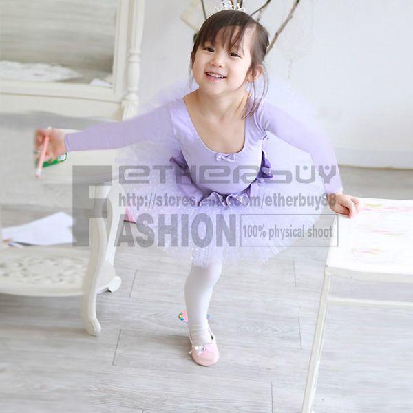 Girls Party Leotard Purple Ballet Tutu Skirt Long Sleeve Dance Dress Size 5 6 Y