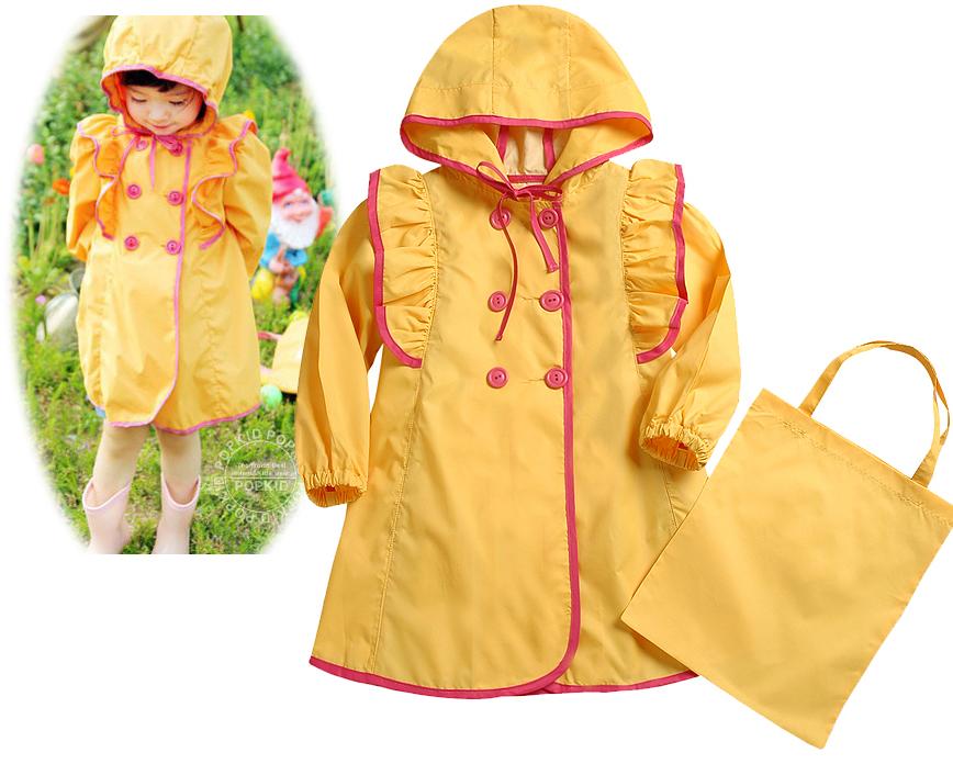 Girls Kids Hooded Raincoat Free Handbag Rain Wear Yellow ...  Girls Kids Hood...