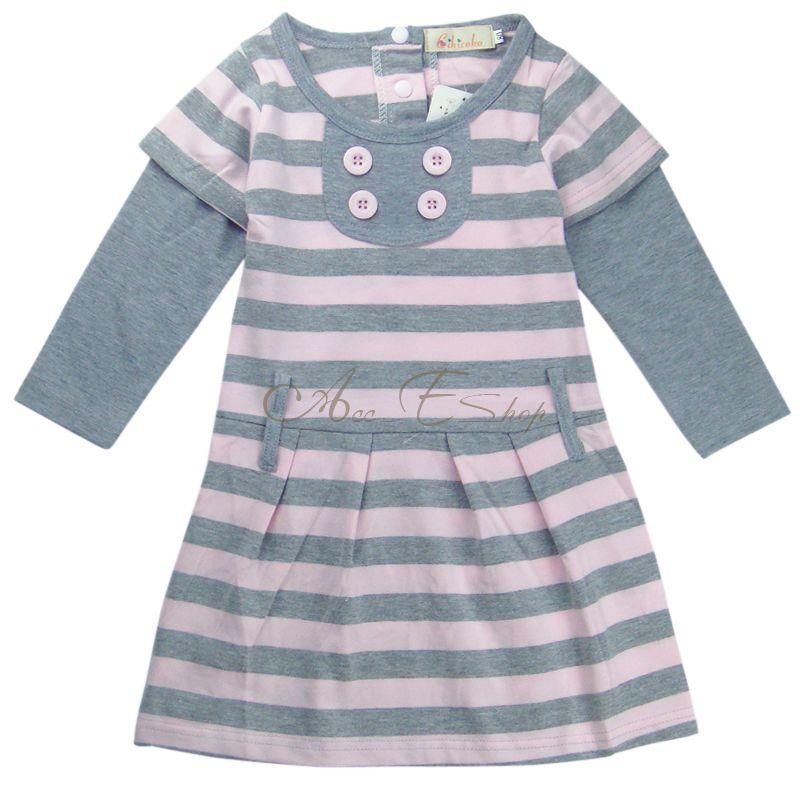 Girl Kids Stripe Leisure Long Sleeve Top Dress Skirt Clothing Costume 2 7Y