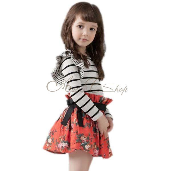 Girl Kids Toddler Striped Top Shirt Flower Floral Party Tutu Skirt Dress Sz 2 7