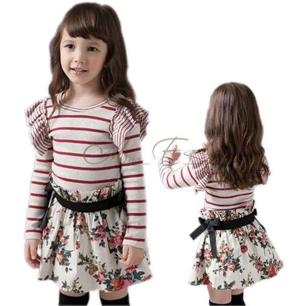 Girl Kids Toddler Striped Top Shirt Flower Floral Party Tutu Skirt Dress Sz 2 7