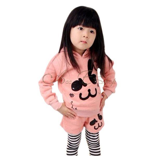 Girl Kid Pink Rabbit Cotton Hoddies Pants Leggings 2pcs Sets Outfits Sz 2 7