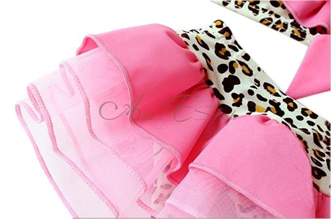3pc Girl Pink Leopard Tutu Bikini Swimsuit Swimwear Swimming Costume Sz 2 6