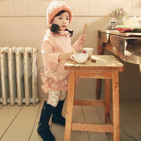 Girls Kids Collar Long Sleeve Dress Top Ruffle Layered Lace Tutu Clothes Sz 2 7Y